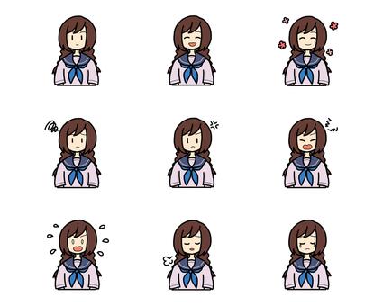 Schoolgirl facial expression set