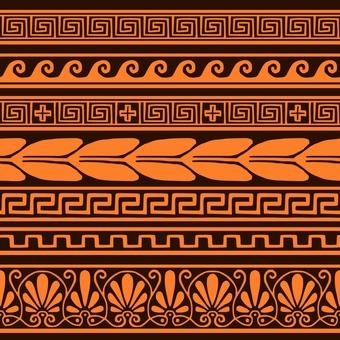 Hand drawn wind An ancient Greek vase pattern