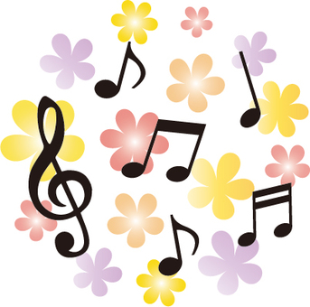 Harmony of notes and flowers