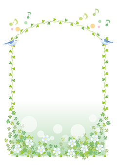 Singing small bird frame (vertical)