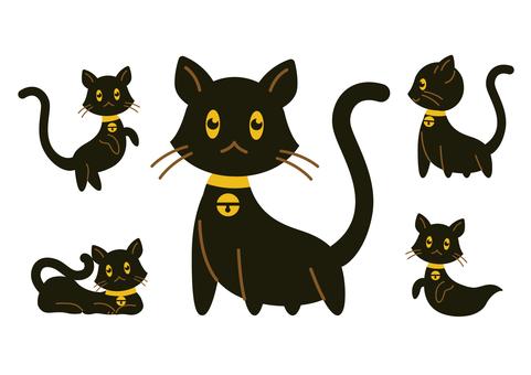 ハロウィン黒猫イラストセット