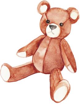 수채화의 곰 인형