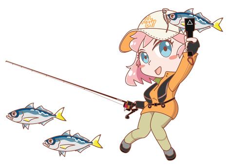 Fishing girl azing