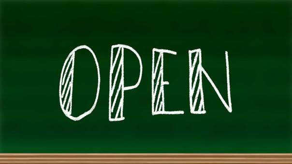 Blackboard with open letters written