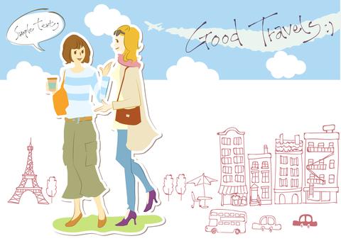 함께 걷는 일본 여성과 외국인 여성 (선 없음)