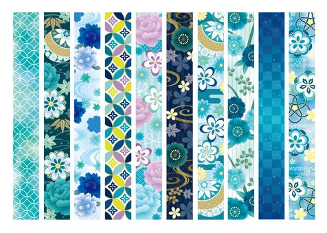 Summer Japanese pattern line flowers etc.