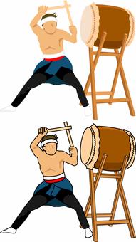 和太鼓を叩く男性