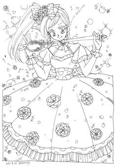 ぬりえ お花ドレスの女の子