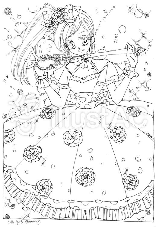 ぬりえ お花ドレスの女の子イラスト No 573732無料イラストなら