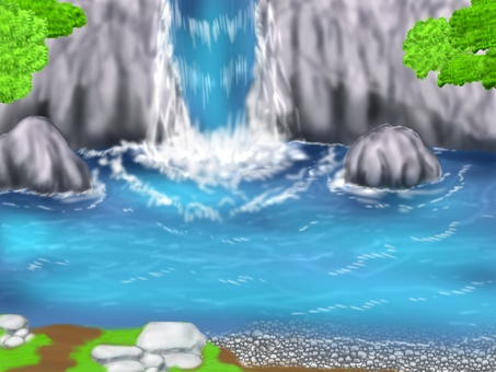Waterfall's diorama background