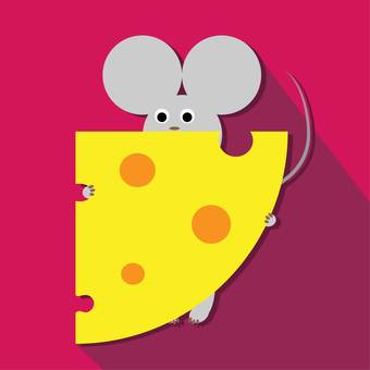 A mouse holding a big cheese