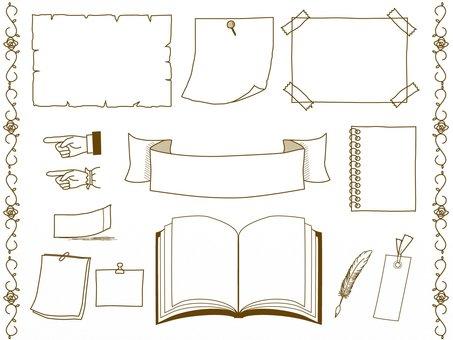 アンティークな文具のフレーム