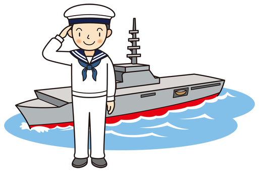 Maritime Self Defense Officer saluting (sea)