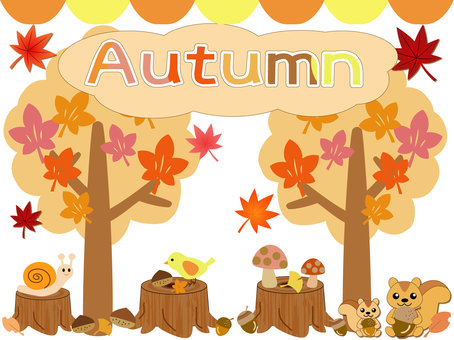 Fall background and icon set