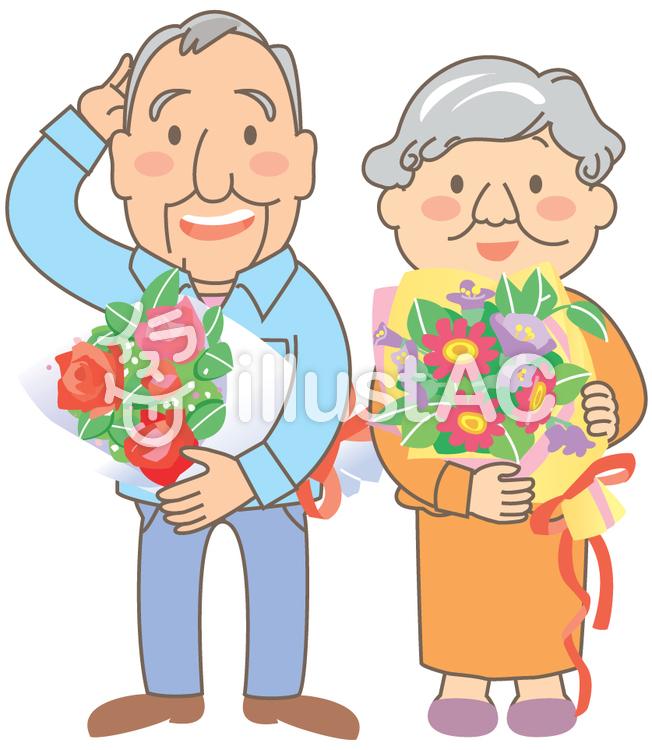 老夫婦と花束のイラスト