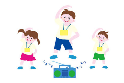Teachers and children with radio gymnastics
