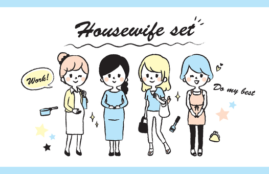 Housewife pregnant woman hand-drawn illustration set
