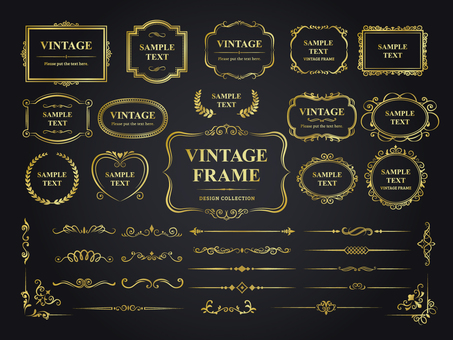 Gold vintage frame and decorative ruling