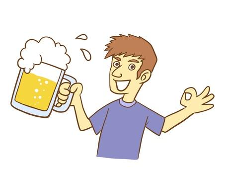 맥주 잔을 가진 남자