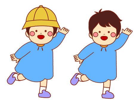 Running kindergarten boy twosome set
