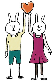 Heart rabbit vector version