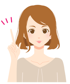 Expression of adult woman 01 / pointing / one point