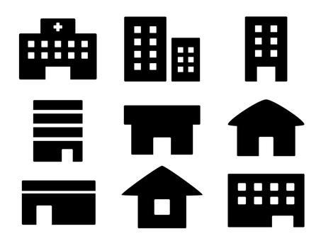 ビルや家や病院の建物のアイコンセット