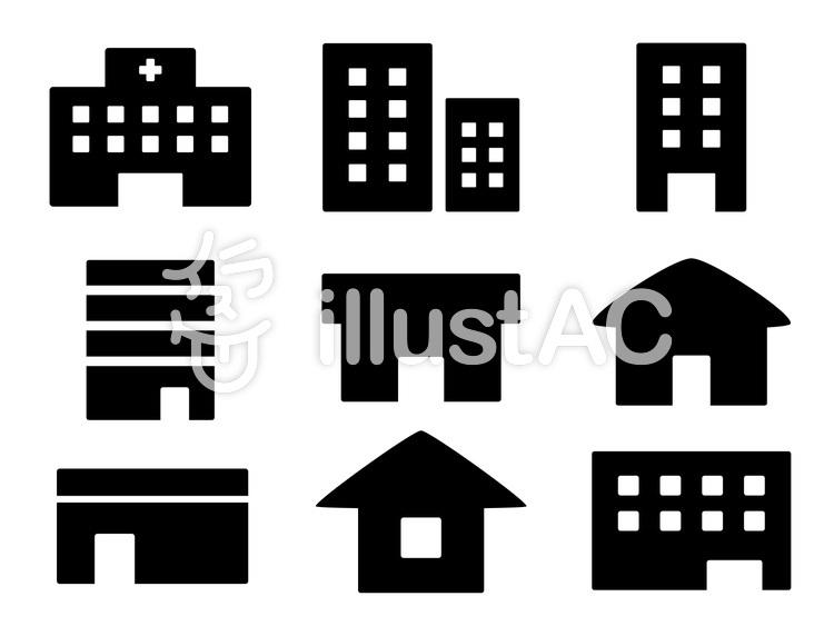 ビルや家や病院の建物のアイコンセットイラスト , No 1612263