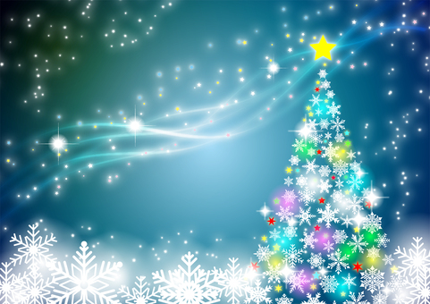 Snowflakes Christmas tree and milky way background