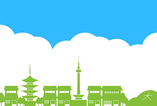 Kyoto townhouses and cityscape