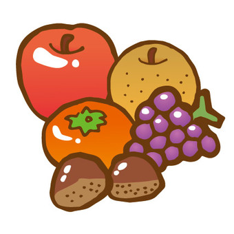 Autumn fruits set