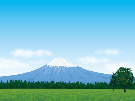 Mt. Fuji with green and fresh blue sky background 04