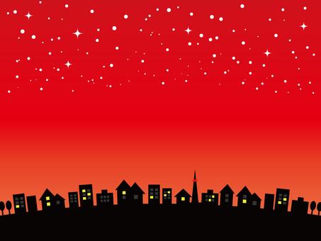 Cityscape sunset star