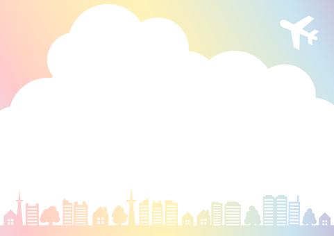 虹色空と飛行機と街と木のフレーム枠
