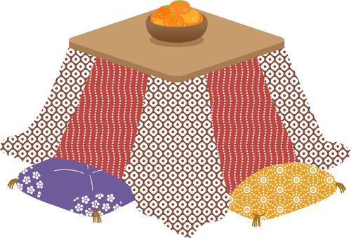 With kotatsu orange cushion