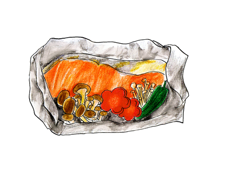 Grilled salmon with foil