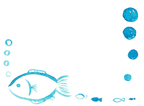 Watercolor fish frame