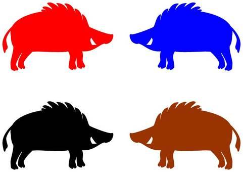 Wild boar silhouette 01