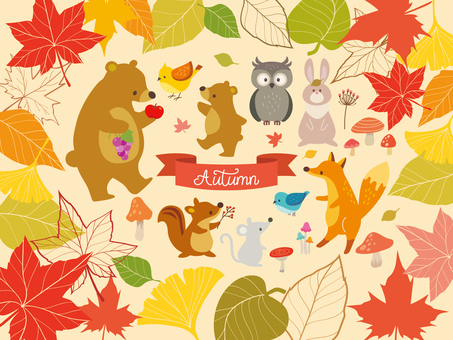 Autumn leaves frame and animal illustration (3)