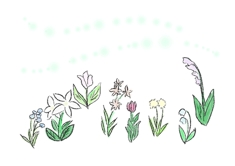 Illustration of flowers and wind