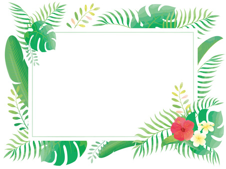 Tropical square frame 02 watercolor style