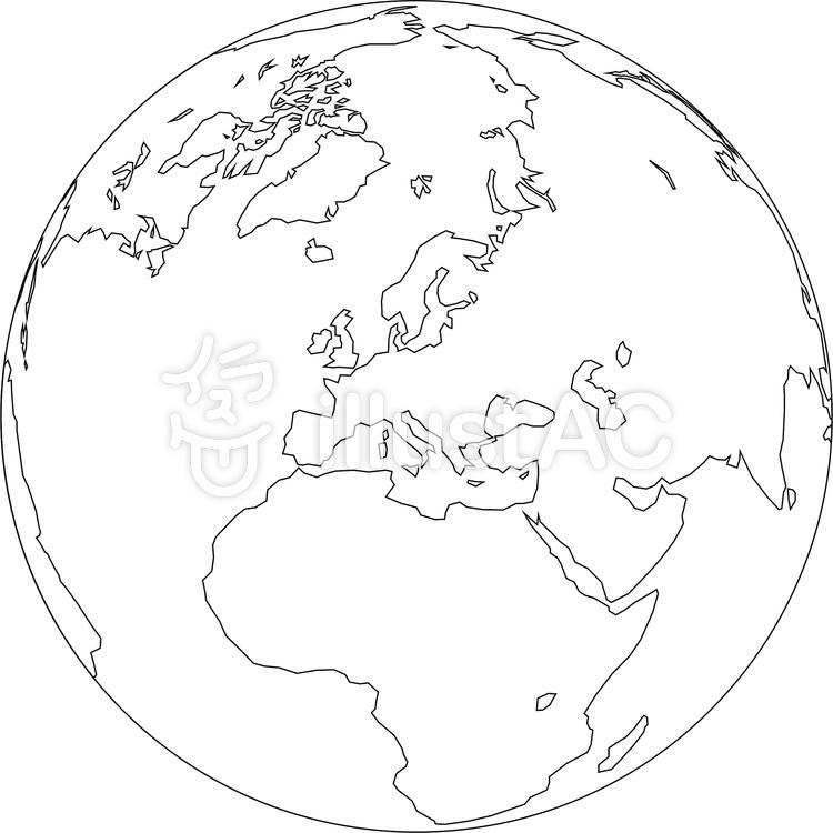世界地図-ヨーロッパ中心-白地図のイラスト