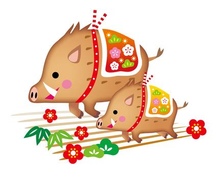 猪突猛進で走る猪の親子