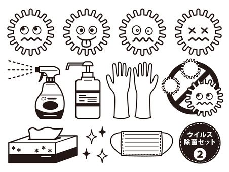 Virus disinfection black and white set 2