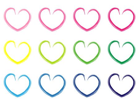 Handwritten wind heart color variations