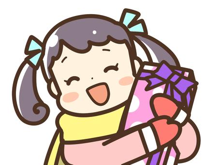 A girl receiving a gift