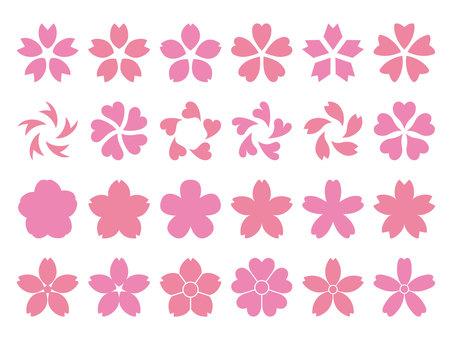 벚꽃 실루엣 세트