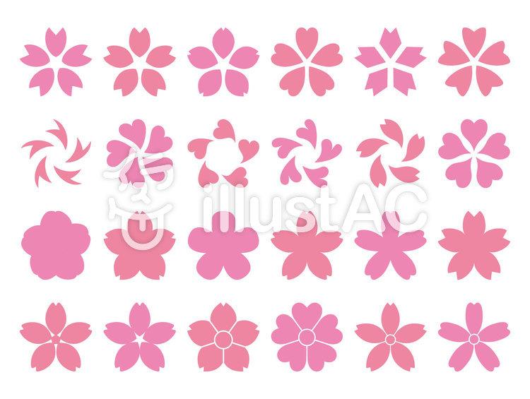 桜シルエットセットのイラスト