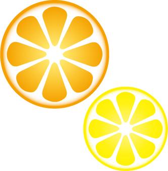 오렌지와 레몬의 둥글게 자름