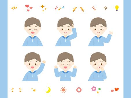 Boy's facial expression set_upper body. 02
